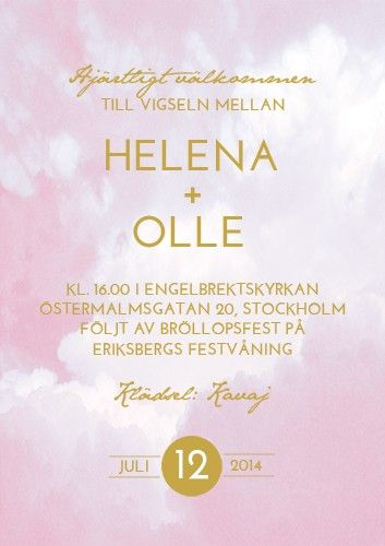 """RIBBON IN THE SKY"" BRÖLLOPSINBJUDAN ROSA via lovelydaydesign.com"
