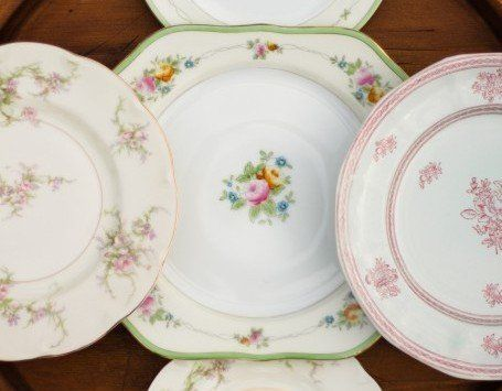 Vintage china bowls, bread, salad, dinner and dessert plates are all available.