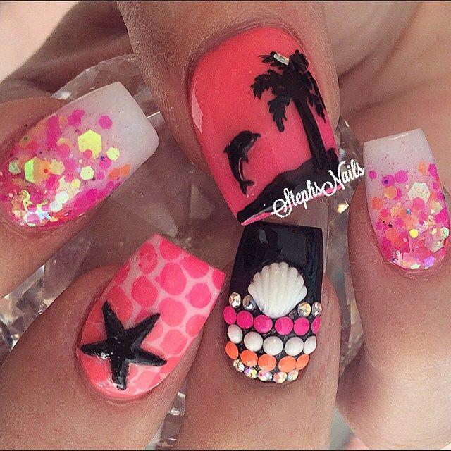 #mexiconails#notpolish#acrylicnails#glitterombre#love#cutenails#scales#palmtree#dolphin#sunset#acrylicombre#diamonds#neonstuds#white#seashells#love#betterthanbarbiesets
