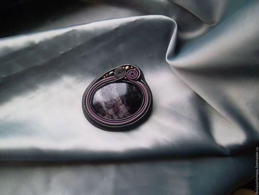 """Броши ручной работы. Ярмарка Мастеров - ручная работа. Купить Брошь """"Фиолетовый дракон"""". Украшения из кожи и камня.. Handmade."""