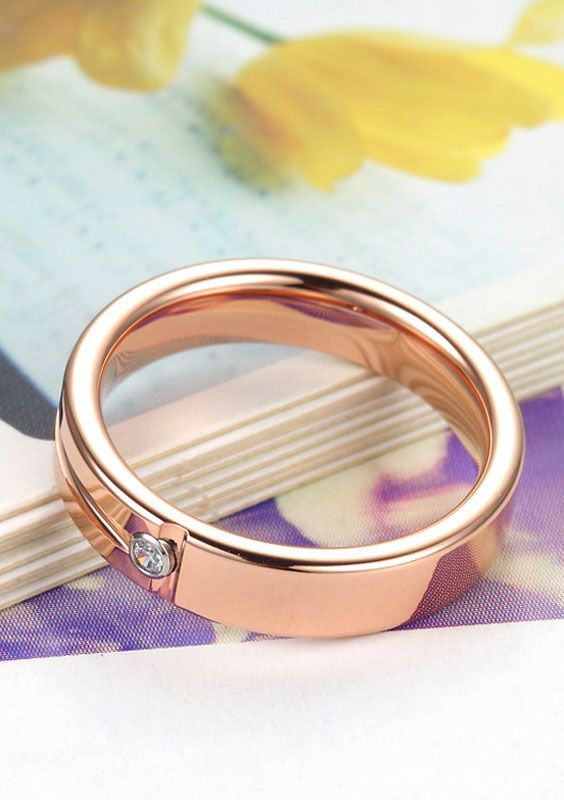 Rose Gold Tungsten Engagement Ring with Diamond & Groove @ iDream-Jewelry.Com