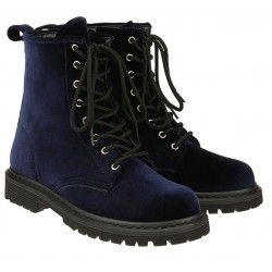 Blue Velvet Suede Lace Up High Top Punk Rock Gothic Military Combat Boots Shoes