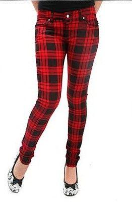 Tripp Red Plaid Skinny Jeans 1,3,5,7,9 punk goth emo