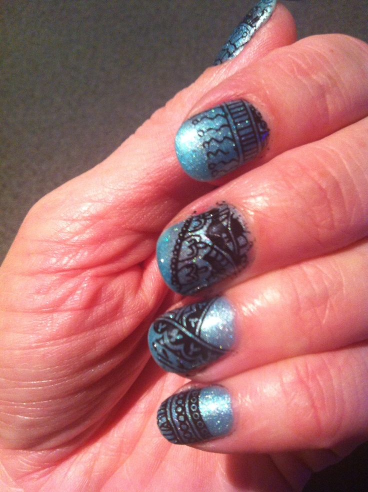 Nails - Hotski tchotski shellac with stamping samples in black