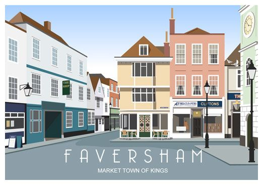 FAVERSHAM TOWN SQUARE. Art print poster of Faversham
