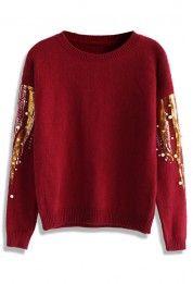 Embellished Petite Sweater in Wine