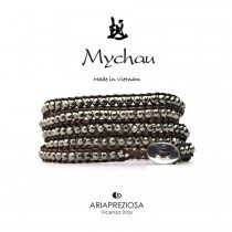 Mychau - Bracciale Vietnam originale realizzato con Pirite naturale su base bracciale col. Testa di Moro