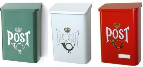 Swedish Mailboxes. I want one in Postfachgelb for my writing desk.