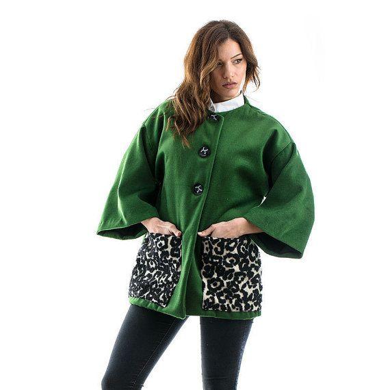 Green Coat velour coat oversized coat velour by madecoutureeu