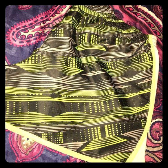 Danskin Shorts Neon yellow trim and greyish green shorts with Whitesides Danskin Shorts