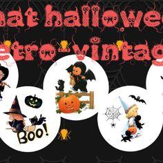 """Images digitales """"images digitales """"chat halloween rétro-vintage"""" + cadeau"""" + cadeau"""