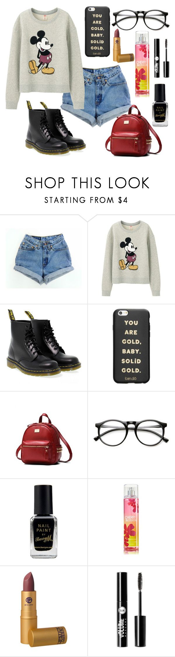 """Untitled #518"" by dolrebeca ❤ liked on Polyvore featuring Levi's, Uniqlo, Dr. Martens, ban.do, Barry M, Lipstick Queen and Charlotte Russe"