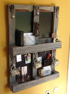 another great pallet idea - back it with a smooth board painted with chalk paint - makes an organizer