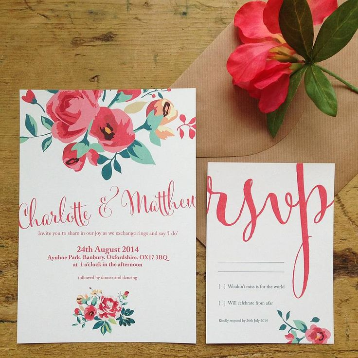 floral country garden wedding invitation suspended