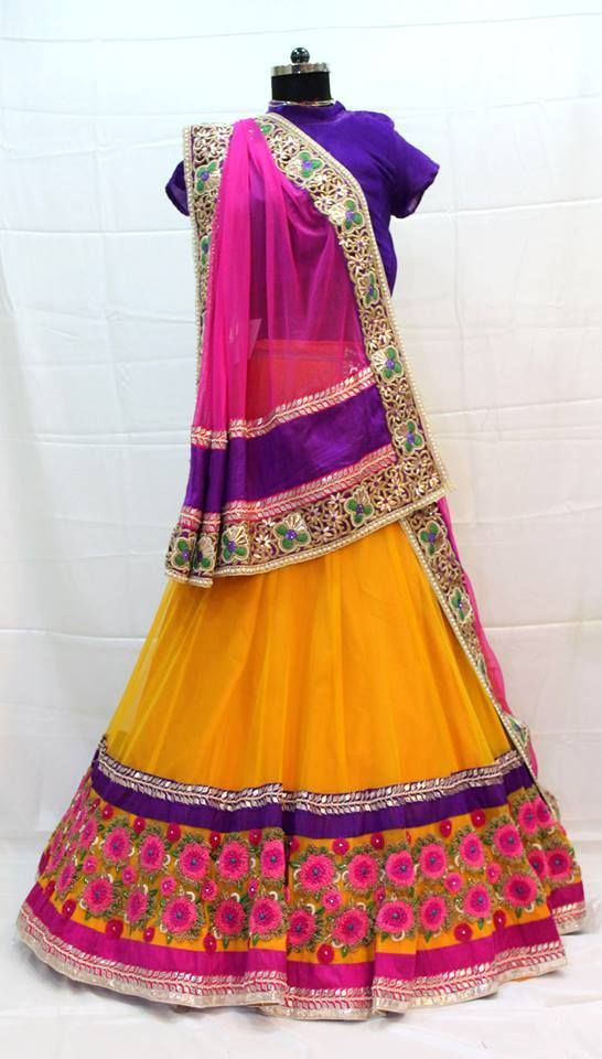 Sangeet / mehendi floral lehenga yellow pink multi colour