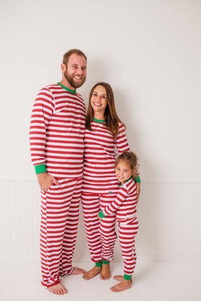 4ea2d18dc7 Candy Cane Red Stripe Kids  Pajama Full Set  Matching Family Pajamas ...