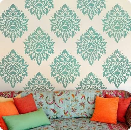 stenciled walls - maybe look neat in the basement?