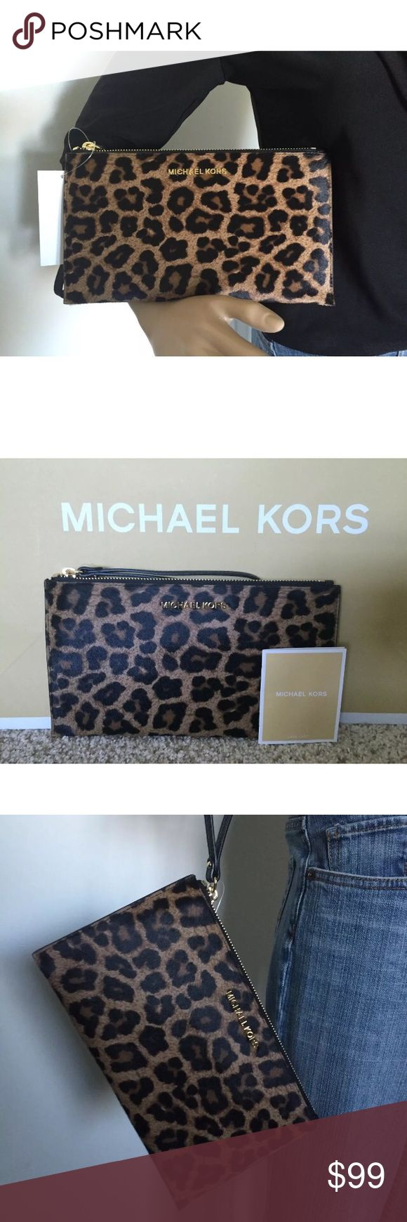 """💕 Michael Kors Leopard Haircalf Wristlet Clutch NWT MICHAEL MICHAEL KORS Leopard print HairCalf and LEATHER ZIP CLUTCH wallet wristlet purse   100% AUTHENTIC   Retails $168  Color: Leopard cheetah print  Brown black tan HairCalf with black leather trim  From MICHAEL Michael Kors Bedford collections  top zip closure Black leather wrist strap Gold-tone hardware Michael Kors logo plate on front Inside, Michael Kors signature lining w/ one pocket and 6 credit card slots 10(L) x 5.5(H) with 7""""…"""