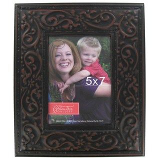 """Green Tree Gallery 5"""" x 7"""" Black Embossed Tin Picture Frame 