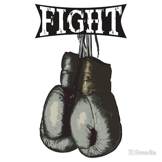 Fight - Vintage Boxing Gloves  v2 #Boxing #Sports #Stickers
