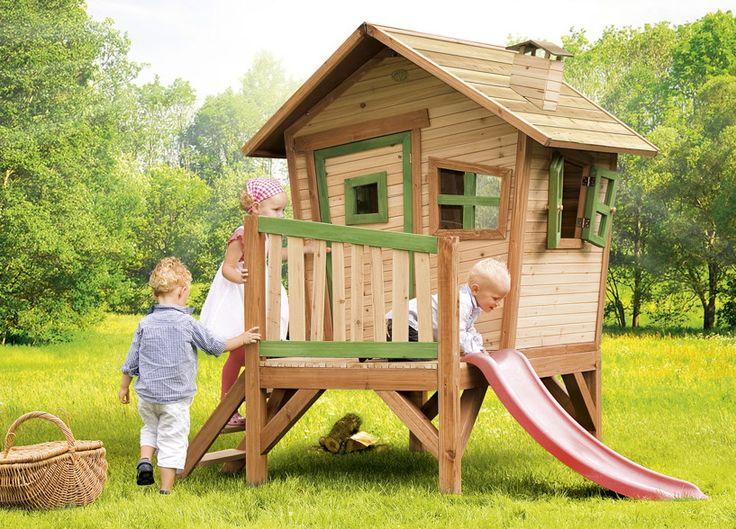 Spectacular Holz Kinder Spielhaus AxiROBIN Kinderspielhaus Comic Stelzenhaus Rutsche Der Axi Kinderspielhaus