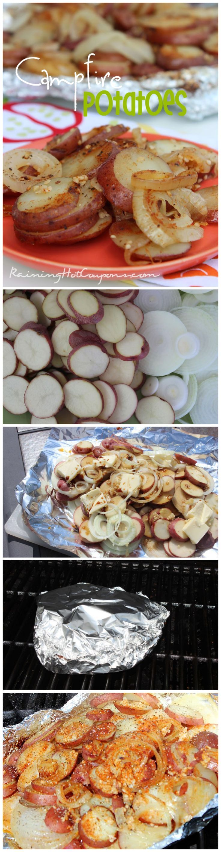 Campfire Potatoes. ( I have made these while camping and at home in the oven.  They are delicious and no messy cleanup.  Mary Schryver 7-24-15)