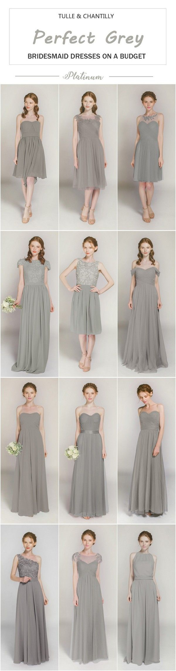 Platinum bridesmaid dresses on a budget from tulle and chantilly
