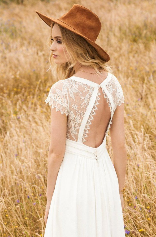 Rembo styling — 2017 Collection — Aimee: Lovely lace cap sleeves and a subtle…