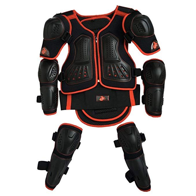 Kids Motorcycle Armor Suit Dirt Bike Chest Spine Protector Back Shoulder Arm Elbow Knee Protector Motocros Kids Motorcycle Body Armor Vest Kids Protective Gear