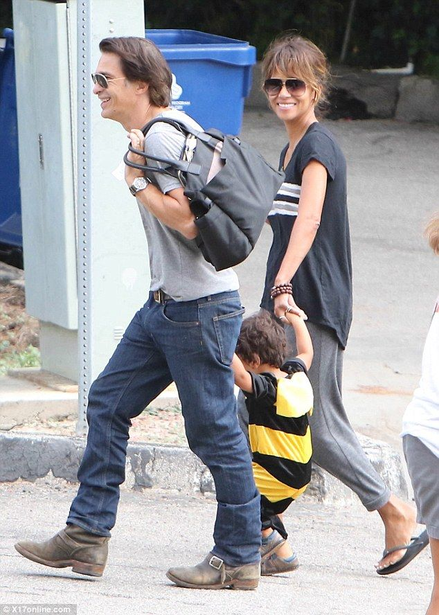 Fun for all the family: Halle Berry and her husband Olivier Martinez took their adorable son Maceo to a Halloween fair in Los Angeles on Saturday