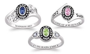 Personalize a class ring with a birthstone, name, personal message, and high school name