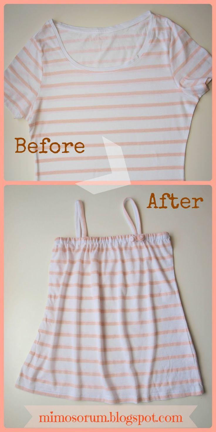 Tutorial: Como convertir una camiseta de adulto en un vestido para niña. Make a Dress with a Shirt