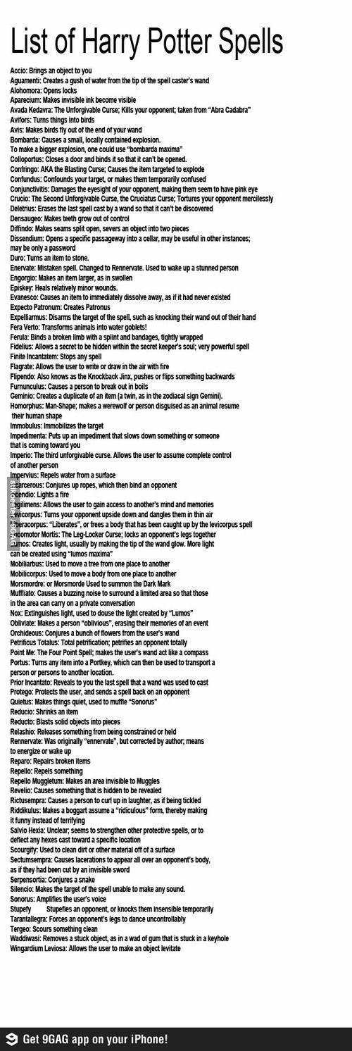 List of Harry Potter Spells. Most popular tags for this image include: potterhead, harry potter, hp, spells and wand: