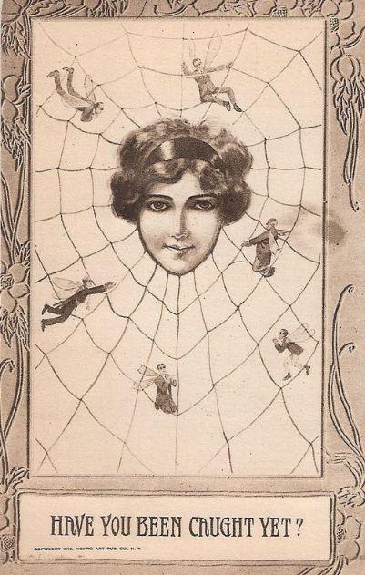 "Monro Art Publishing Company, NY, 1910 <3 vintage postcards called ""little men/superior women"" (or, less often, ""little women/superior men"") <3 Spider Web <3 Love <3 Valentine"