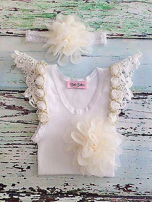 TAHLI BELLE Baby Newborn Girls Crochet Frill Tulle Flower Singlet Headband Set