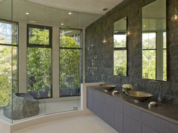 """http://www4.pictures.lonny.com/mp/n6tWRJ5xu5Vl.jpgVery cool """"rock"""" seat inside shower."""