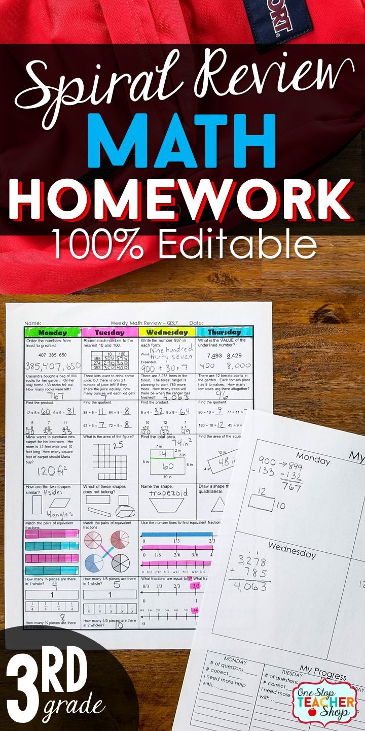 3rd Grade Math Spiral Review to cover the ENTIRE YEAR of Third Grade Math. 100% EDITABLE and comes with ANSWER KEYS. Use for 3rd Grade Math Homework, 3rd Grade Math Morning Work, or Math Center Activities | 3rd Grade Common Core Aligned Math Resources | 3rd Grade Math Activities | Spiral Math Homework for 3rd Grade
