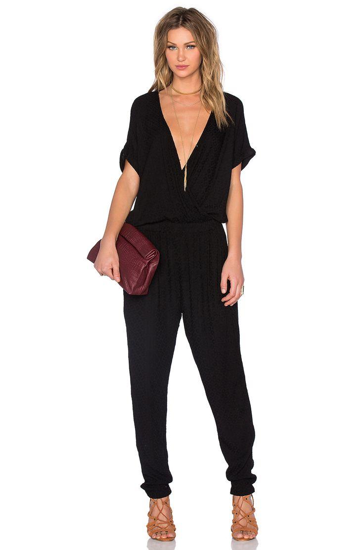 Velvet by Graham & Spencer Chandelle Damask Rayon Short Sleeve Cross Front Jumpsuit in Black