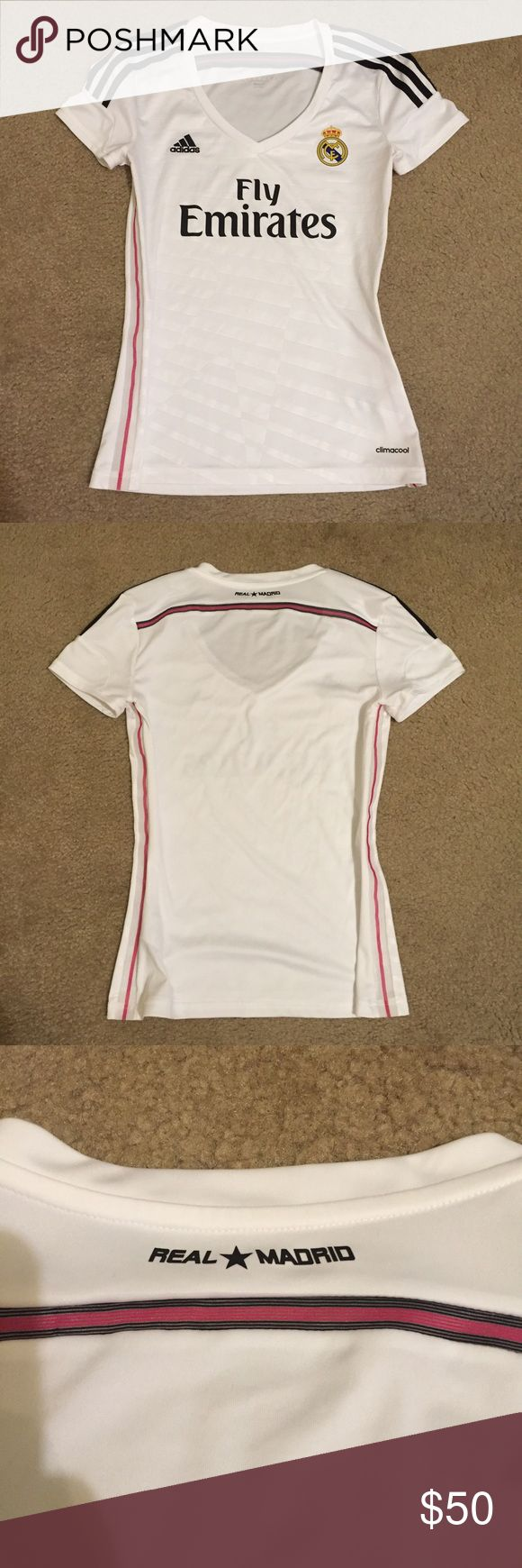Real Madrid Women's Soccer Jersey Gorgeous v-neck jersey. Only worn once, this is basically new and in excellent condition. Unfortunately too big for me :( purchased from Real Madrid official store in Spain. Open to reasonable offers. Adidas Tops