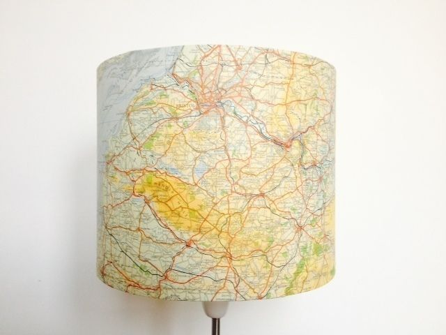 A handmade lampshade made using an upcycled vintage map this unique drum lampshade depicts a map of bristol including bridgwater bay and salisbury plain