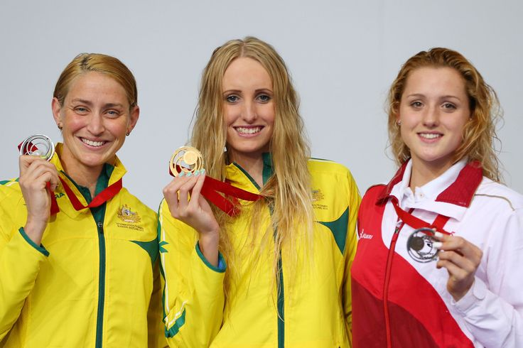 Gold medallist Taylor McKeown of Australia poses with silver medallist Sally Hunter of Australia and bronze medallist Molly Renshaw of England