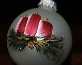 Items similar to hand painted candle glass ornament on Etsy
