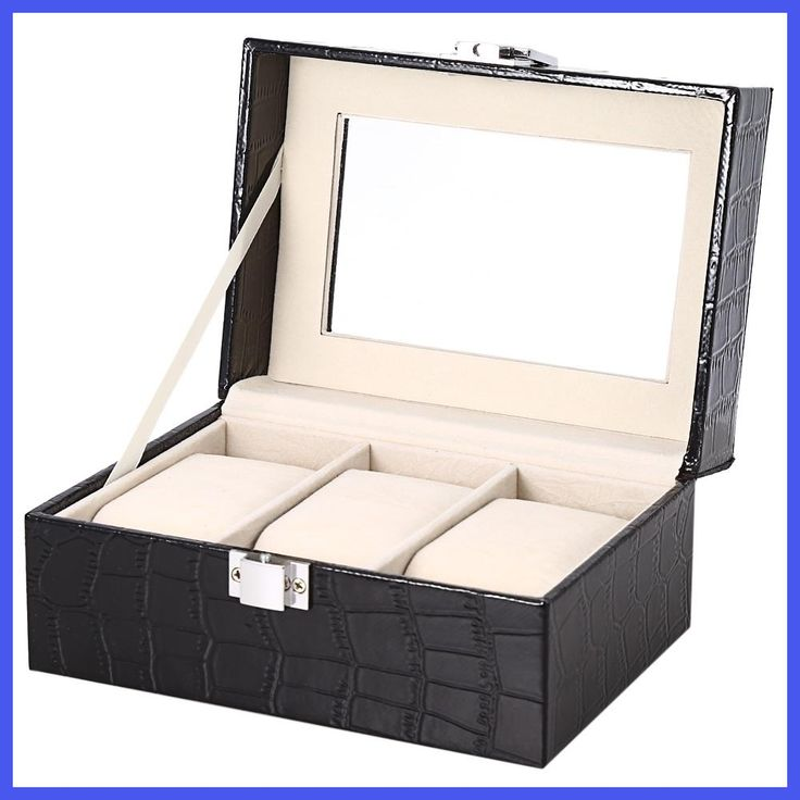New Luxury 3 Slots Leather Watch Box Transparent Glass Window Jewelry Storage Organizer Elegant Watch Box Gifts Caja Reloj