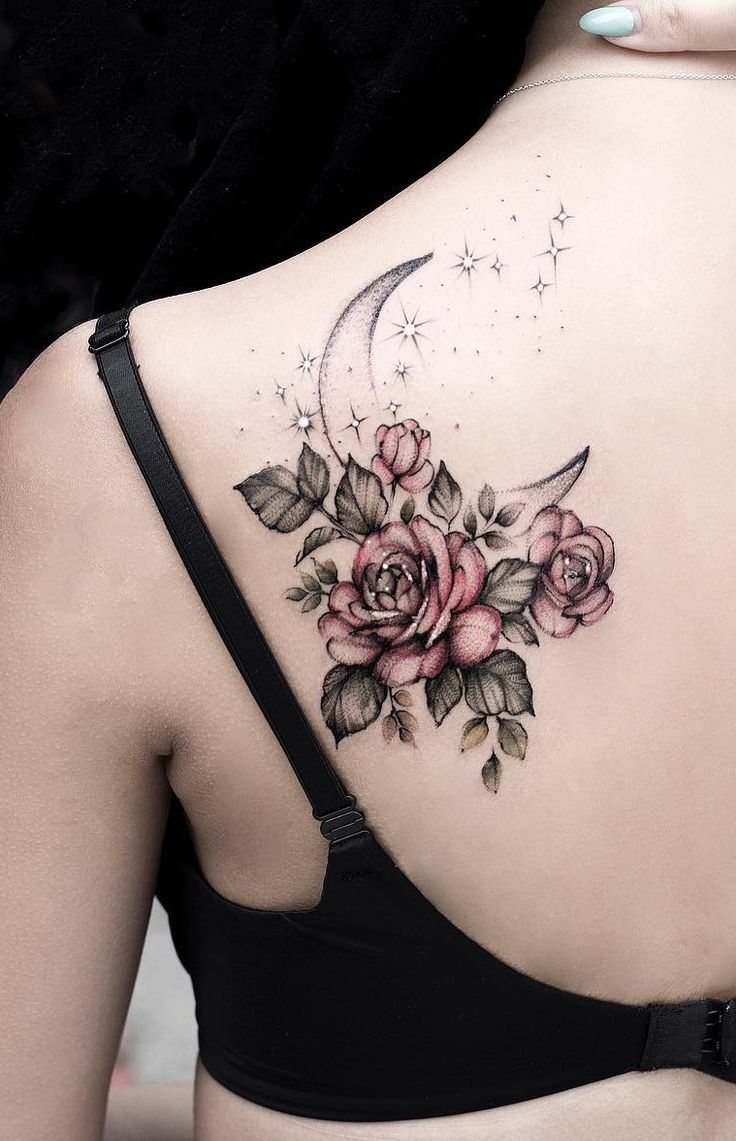 Awesome Roses Crescent Moon Tattoo C Tattoo Artist S T E L L A T A T T O O Stel In 2020 Floral Tattoo Shoulder Beautiful Flower Tattoos Shoulder Tattoos For Women