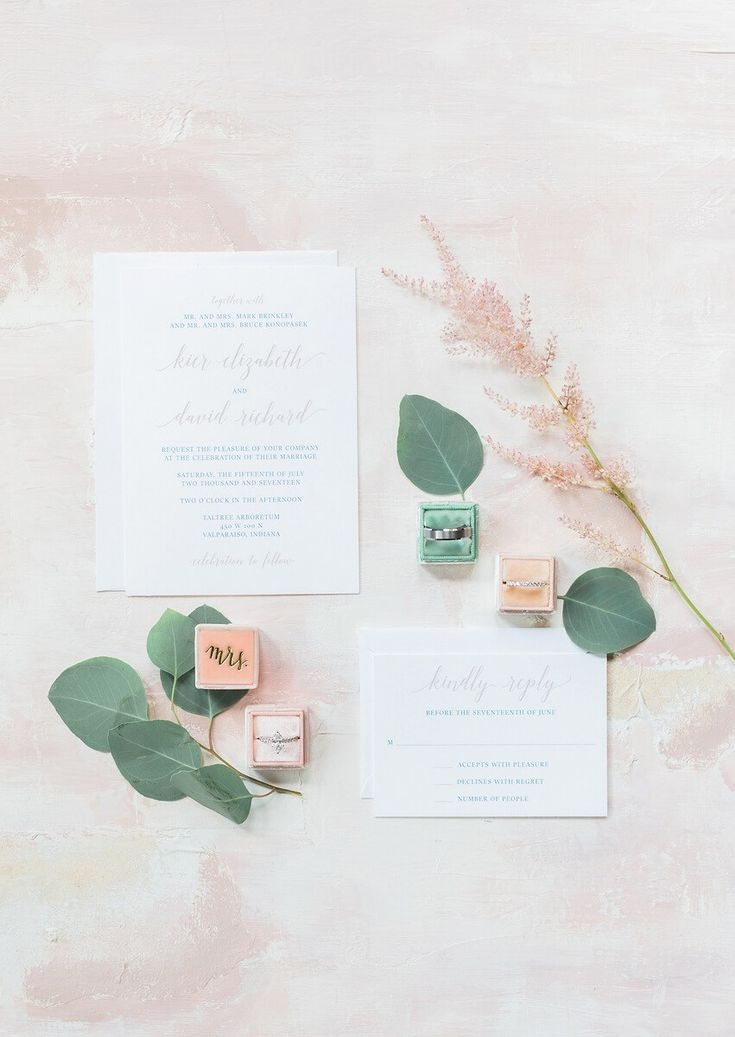 Blush and Greenery wedding accessories and details