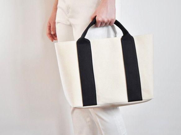 帆布A4トートバッグ<キナリ×クロ>|トートバッグ|Grandir|ハンドメイド通販・販売のCreema