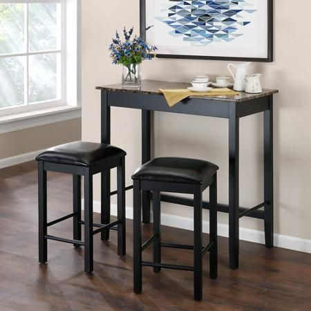 Instead of a stand-up desk, I'm thinking about one of these bistro table sets: Devyn 3-Piece Faux Marble Pub Dining Set, Black