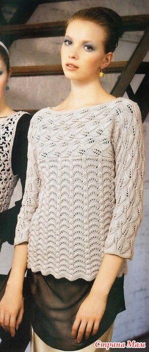 Этот пуловер с вырезом лодочка оригинален тем что его кокетка и рукава являются цельнокроенным полотном и вяжется перпендикулярно подолу( который выполняется снизу вверх) то есть от рукава к рукаву.