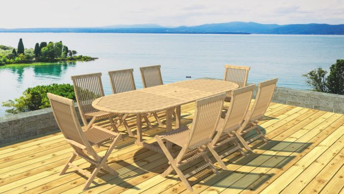 Table ovale en teck brut 180/240 + 8 chaises | mobilier jardin
