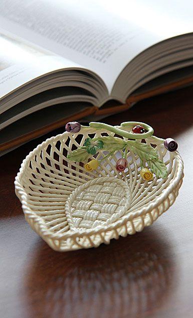 Belleek China Rose Bud Leaf Basket Bowl